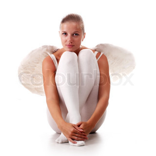 young beautiful naked woman with white wings