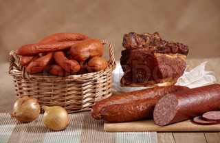 smoked meat and sausages