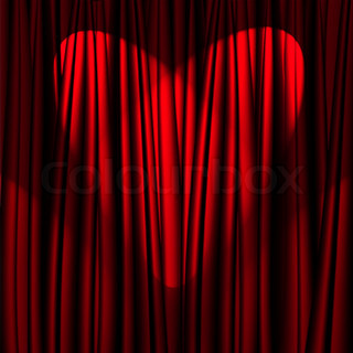 Heart Valentine's Day red theater curtain with a light heart-shaped