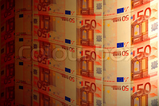 tortuous background of euro banknotes to the effect of lighting
