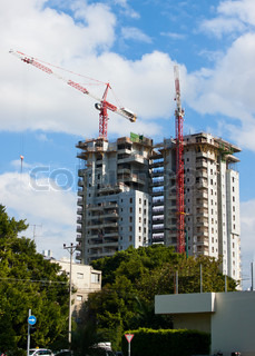 Construction of high rise residential building in the street