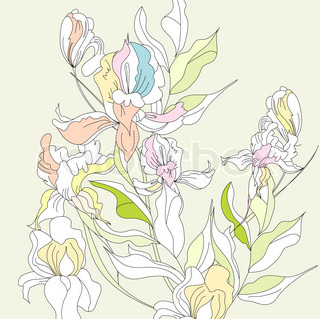 Decorative seamless border with iris flowers stock vector romantic floral background with iris flowers pronofoot35fo Choice Image