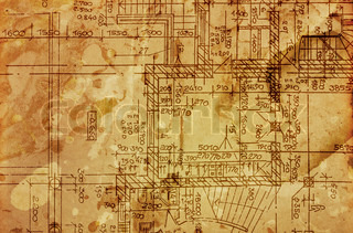 vintage architectural drawing, on grunge paper with some stains