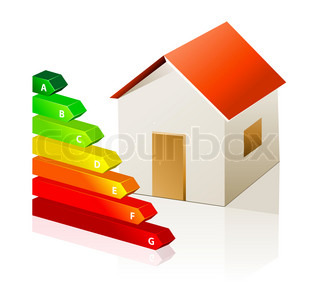 House and energy classification icon isolated on white background