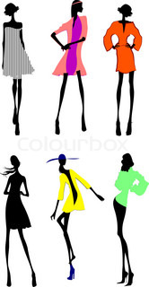 Sechs Fashion Girls Silhouette .