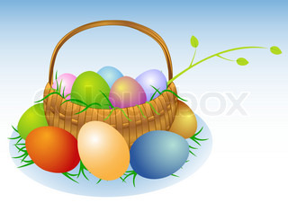 Illustration of an easter basket with eggs and a branch
