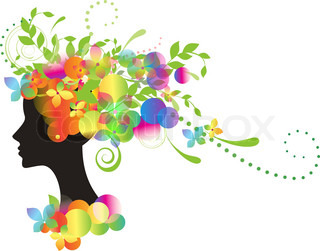 Decorative silhouette of woman with flowers and circles