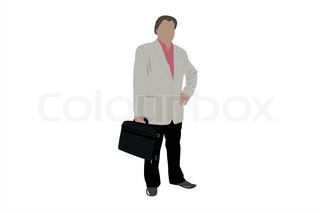 Vector illustration of businessman with bag