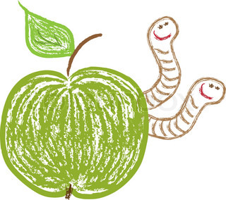 vector illustration of green apple and funny worms