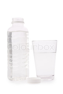 Composition from a transparent plastic bottle and a glass glass with water