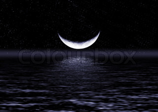 Half of moon in the star sky reflected in water