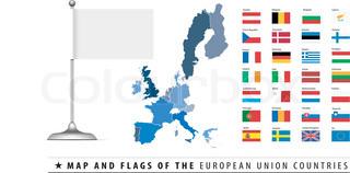 Europäische Union Karte und Flagge Vektor-Illustration mit leeren Rohling Flagge.
