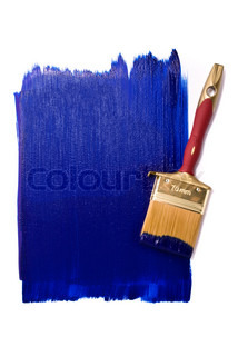 Professional brush with blue paint on the white background