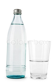 transparent bottle and glass isolated