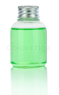 transparent plastical bottle with green liquid
