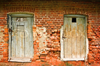 Two Old Doors And Brick Wall