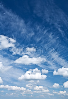 Cumulus and cirrus clouds