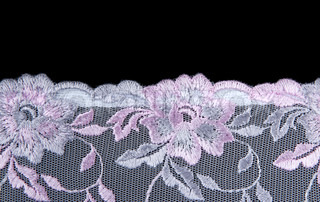 Rose lace with pattern insulated on black background