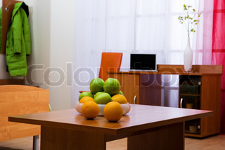 Fresh fruit on a table in a beautiful flat