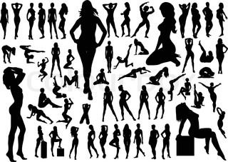 Collection of naked women silhouettes. Vector illustration