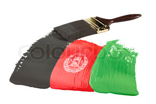 Concept of paint strokes of the color of the flag of Afghanistan.