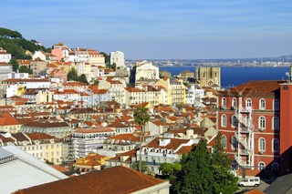 Bird eye view panorama of Lisbon city, Portugal
