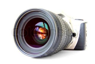 Foto -Kamera auf dem weißen Hintergrund isoliert