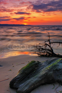 Colourful sunset on the shore of tropical sea