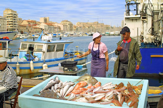 Fish fair at Canebiere street May 23, 2009 in Marseilles, France