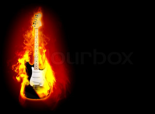 elictric guitare in flames on a black background