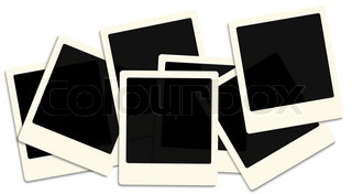 Heap of old style photo frames over white background