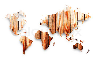 wooden map on a white background