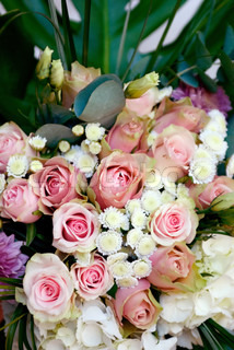 Wedding bouquet with pink roses closeup