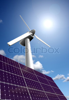 Renewable energy from solar energy panel and wind power plant