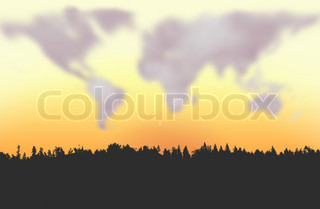 Clouds forming world map figure