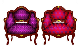 illustration two chairs with gold(en) detail