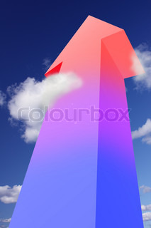 Colorful arrow pointing to the sky