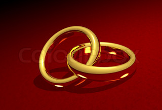 Golden wedding rings linked together