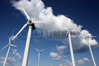Wind power plant with sky background