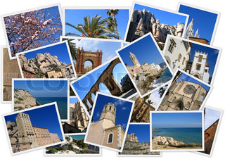 Places in Spain in collage with several shots on white background