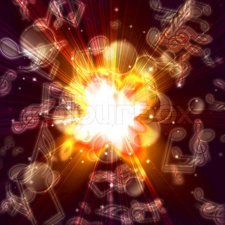 magic burst with stars and music notes, abstract background