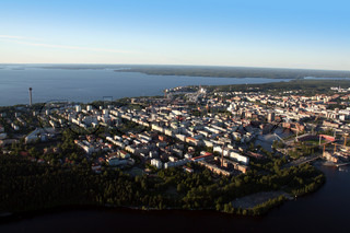 Aerial view over Tampere, Finland