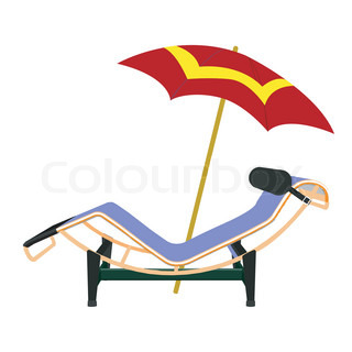 Chaise lounge and umbrella beach inventory vector for Breezy beach chaise