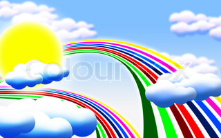 cartoon picture with sun, clouds and rainbow
