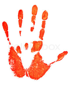 red hand print over the white background