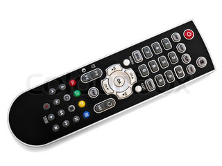 black modern remote control over the white background