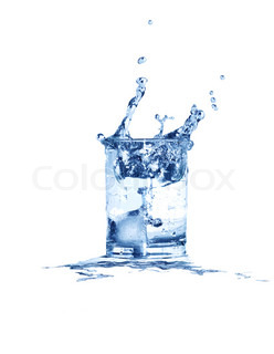 Glass of splashing water with ice isolated on white background with clipping path