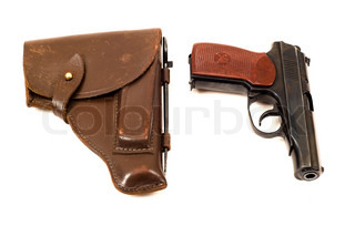 Russian 9mm handgun and holster isolated on the white background