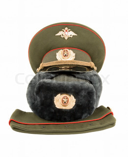 Russian army officers caps isolated on the white background