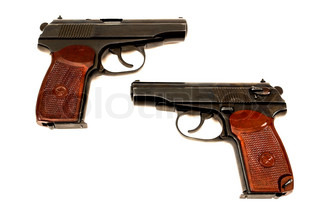 Two russian 9mm handguns isolated on the white background